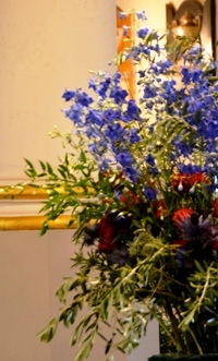 blue red and silver flowers