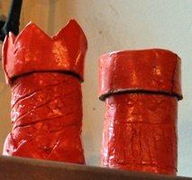 red clay chimney pots